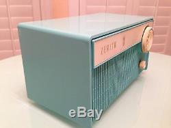 Vintage Zenith AM Tube Radio Model F508B Blue Turquoise