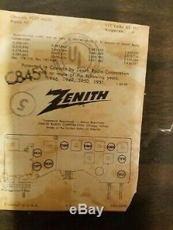 Vintage Zenith C845 High Fidelity AM/FM Table Top Tube Radio Works RARE Black