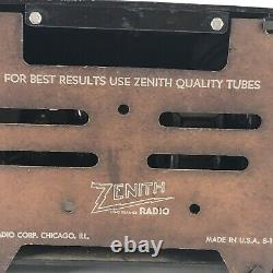 Vintage Zenith H511 S-17697 AM Tube Radio Black Gold For Display/Parts Only