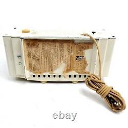 Vintage Zenith K622 Tube Radio White Alarm Clock Super Deluxe MCM Mid Century