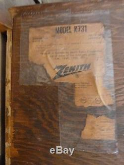 Vintage Zenith K731 Wood Art Deco Tube AM/FM Radio 1950's Working Retro