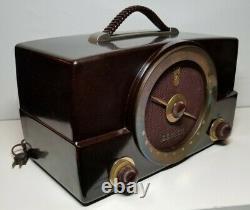 Vintage Zenith K Series AM/FM Working Radio Bakelite Tube Model H725 Walnut