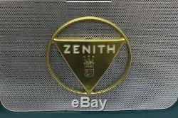 Vintage Zenith L505 Vintage 1953 Portable Tube Radio with Wave Magnet Blue Color