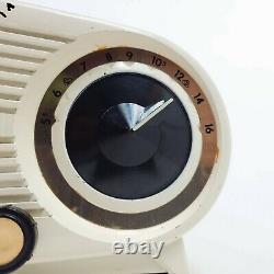 Vintage Zenith L515 Mid Century Modern Owl Eye Clock Tube Radio L515W Works
