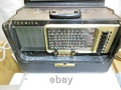 Vintage Zenith L600 Wave Magnet Trans Oceanic Tube Radio w Instruction powers on