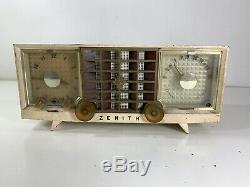 Vintage Zenith Radio R623W 1955 Super Deluxe AM Clock Radio Tube READ AS-IS