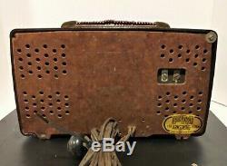Vintage Zenith Split Face AM/FM Brown Bakelite Radio Tested Works
