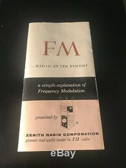 Vintage Zenith Super Interlude C845Y AM/FM Table Radio withOriginal Manual WORKS