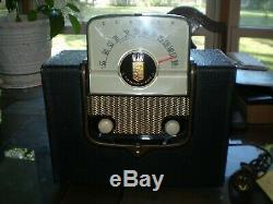 Vintage Zenith Tube Am Portable Radio 5g41 Flip Front Switch On & Off Works