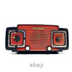 Vintage Zenith Tube Radio Alarm Clock Brown MCM L520R Mid Century Modern Works