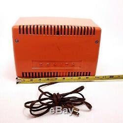 Vintage Zenith Tube Radio Bakelite Toreador B513-V Coral Pink Mid Century Modern