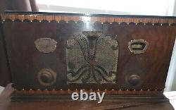 Vintage Zenith Tube Radio Burled Walnut Wood Cabinet Working Art Deco MCM RARE