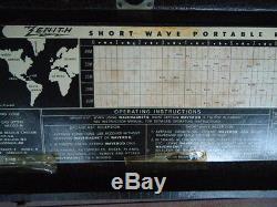 Vtg. Antique ZENITH short wave portable radio wavemagnet