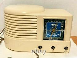Vtg Antique Zenith Art Deco Model 6d512w Bakelite Radio Blue Dial For Parts