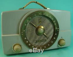 Vtg Retro Space Age Zenith Factory Gray Bakelite Tube Radio Receiver Model K725