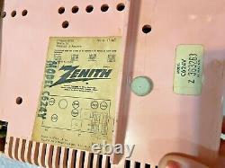 Vtg Zenith 5 Tube AM Clock Radio Model -C624V. 1960s PINK WORKING