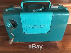 Vtg Zenith L505 Vintage 1953 Portable Tube Radio with Wave Magnet Teal Space Age