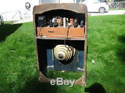 WORKING 1938 ZENITH 15U-269 ANTIQUE CONSOLE TUBE RADIO BIG BLACK ROBOT DIAL. EYE