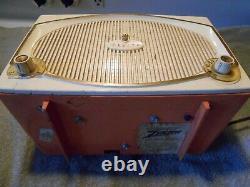 WORKING! Vintage Coral Pink Zenith B513-V Old Tube Radio'TOREADOR' Retro Orange