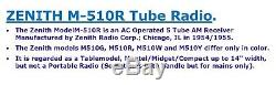 ZENITH Model M-510Y ART DECO tube Radio Burgundy Color