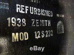 ZENITH TOMBSTONE TUBE RADIO 1938 MODEL 12-S-232 WALTON FULLY RESTORED
