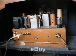 Zenith1938 Tube Radio Green Eye TransAtlantic WW2 Era Working Council Survivor