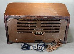 Zenith 6S527 Deco Wood Cabinet Pushbutton Tube Radio AM/SW w Lighted Dial