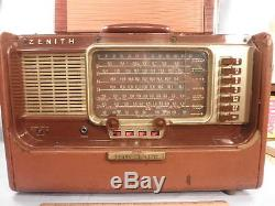 Zenith A600L Brown Leather Transoceanic AM & 6 SW Bands Tube Radio 1958 NR