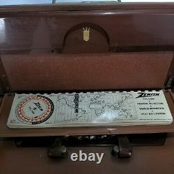 Zenith A600L Transoceanic WAVE MAGNET Shortwave Tube Radio Leather WORKS