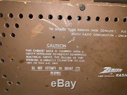 Zenith AM/FM Tube Radio Model K731 Beautiful Wood Cabinet/ Works Great! 1950sA+