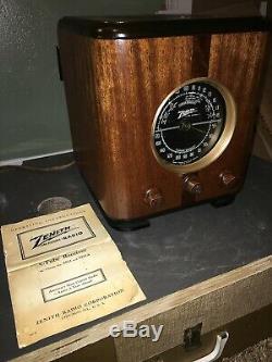 Zenith Cube Radio 5S-220 Circa 1938 5 Tube- Works! Cabinet Restored- Hear It