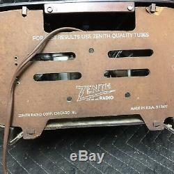 Zenith Racetrack AM Radio Consol-Tone Brown Bakelite Vintage Tubes
