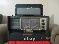 Zenith TransOceanic Wave Magnet AM Radio Working Tube Style L600 w Manual & Spec