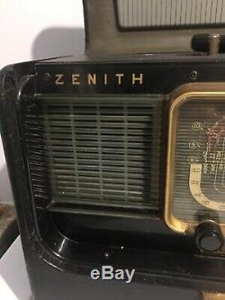 Zenith Trans Oceanic Wavemagnet Model H500 1951-53 5H40 Works In Clean Condition