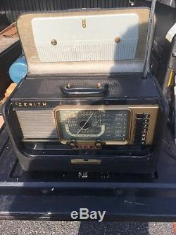 Zenith Transoceanic H500 Wave Magnet Short Wave Tube Radio Works Dirty