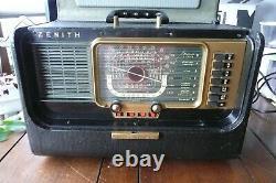 Zenith Transoceanic Tube Radio Model H500 Mid Century w Operating Guide Manual